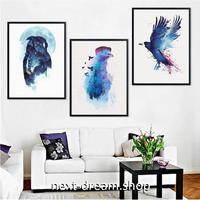 お洒落な壁掛けアートパネル 枠付き3点セット / 各15×20cm フクロウ 鳥の絵 青 ポスター 絵画 ファブリックパネル m03431