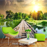 3D 壁紙 1ピース 1㎡ 自然風景 池 橋 平地 緑 太陽の日差し 癒し効果 リビング 客室 m03342