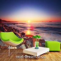 3D 壁紙 1ピース 1㎡ 自然風景 海の景色 サンセット 岩場 インテリア 装飾 寝室 リビング h02356