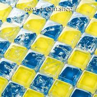 3D壁紙 30×30cm 11枚セット クリスタルガラス 黄色×青 DIY リフォーム インテリア 部屋/浴室/トイレにも h04531
