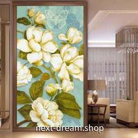 3D 壁紙 玄関用 1ピース 1㎡ 油絵 白い花 ヨーロッパレトロ インテリア 装飾 部屋 耐水 防湿 耐衝撃 騒音吸収 h02768
