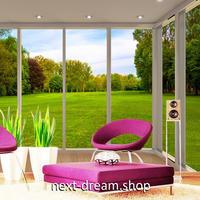 3D 壁紙 1ピース 1㎡ 自然風景 窓からの景色 グリーン 芝生 インテリア 装飾 寝室 リビング 耐水 防カビ h02412