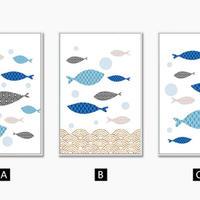 お洒落な壁掛けアートパネル3点セット (枠なし)/ 各21×30cm 魚の群れ アート マリン ポスター 絵画 ファブリックパネル m03293