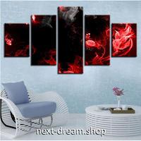【お洒落な壁掛けアートパネル】 5点セット 赤い火花 黒い背景 アート 絵画 ファブリックパネル インテリア m04101