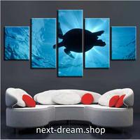 【お洒落な壁掛けアートパネル】 枠付き5点セット 海中を泳ぐウミガメ 写真 自然景色 ファブリックパネル インテリア m04564
