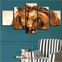 【お洒落な壁掛けアートパネル】 枠付き5点セット 2頭の馬 じゃれ合い 絵画 ファブリックパネル インテリア m04547