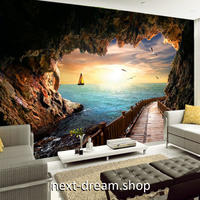 3D 壁紙 1ピース 1㎡ 自然風景 海の景色 洞窟の中からの眺め 夕暮れ時 インテリア 装飾 寝室 リビング h02313