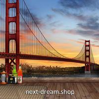 3D 壁紙 1ピース 1㎡ シティ風景 ブリッジ 赤い橋 DIY リフォーム インテリア 部屋 寝室 防湿 防音 h03355