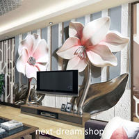 3D 壁紙 1ピース 1㎡ 花 フラワー ストライプ 防カビ 耐水 おしゃれ クロス インテリア 装飾 寝室 リビング h01800