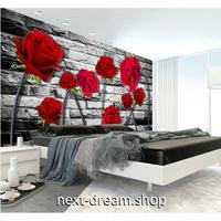 カスタム3D壁紙 1ピース 1㎡ 赤い薔薇 レンガ ローズ キッチン 寝室 リビング クロス張替 リメイクシート m04492