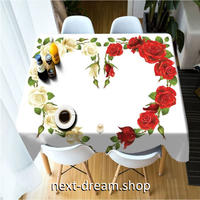テーブルクロス 135×180cm 4人掛けテーブル用 ローズ ハート お茶会 おしゃれな食卓 汚れや傷みの防止 m04333