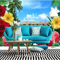 カスタム3D壁紙 1ピース 1㎡ リゾート景色 花 ヤシのき 癒し風景 おうち時間充実 おしゃれ キッチン 寝室 リビング m03499