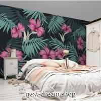 3D 壁紙 1ピース 1㎡ 赤色 熱帯植物 ヤシの葉 ハイビスカス トロピカル おしゃれ キッチン 寝室 客室 m03383