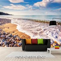 カスタム3D壁紙 1ピース 1㎡ ビーチ 海 浜辺 自然 癒し風景 おうち時間充実 おしゃれ キッチン 寝室 リビング m03500