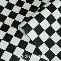 3D 壁紙 50×1000㎝ モノクロ チェック柄 モダン 防カビ 耐水 おしゃれ クロス インテリア 装飾 寝室 リビング h01779