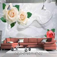 3D 壁紙 1ピース 1㎡ 立体空間 薔薇 白 ピンク DIY リフォーム インテリア 部屋 寝室 防湿 防音 h03162