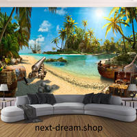 3D 壁紙 1ピース 1㎡ 自然風景 海 ビーチ 島 海賊 ヤシの木カモメ カリブ海 インテリア 装飾 寝室 リビング h02178