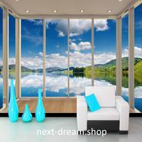 3D 壁紙 1ピース 1㎡ 自然風景 窓 バルコニーからの景色 湖 山 インテリア 装飾 寝室 リビング h02185