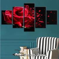【お洒落な壁掛けアートパネル】 5点セット レッドローズ 薔薇 写真 ヴィンテージ 絵画 ファブリックパネル インテリア m04068