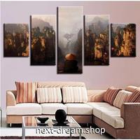 【お洒落な壁掛けアートパネル】 5点セット 岩山 霧 自然風景 写真 ファブリックパネル インテリア m04794