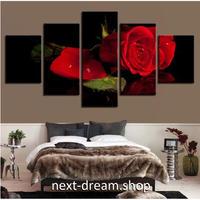 【お洒落な壁掛けアートパネル】 5点セット 薔薇 レッドローズ 写真 絵画 ファブリックパネル インテリア m04105