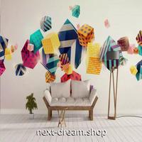 3D 壁紙 1ピース 1㎡ カラフル ポリゴン 立体アート 四角 可愛い おしゃれ キッチン 寝室 客室 m03374