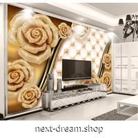 カスタム3D壁紙 1ピース 1㎡ ゴールドローズ ジュエリー 花 部屋 リビング 寝室 ショップ ウォールペーパー m05888