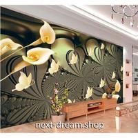 カスタム3D壁紙 1ピース 1㎡ 百合 蝶々 グリーンゴールド キッチン 寝室 リビング クロス張替 リメイクシート m04498