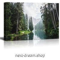 【お洒落な壁掛けアートパネル】 枠付き 40×60cm 森林 湖 緑 空 自然風景 写真 絵画 部屋 インテリア m06316
