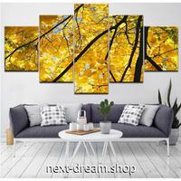 【お洒落な壁掛けアートパネル】 5点セット カエデの森 紅葉 黄色 森林 自然風景 ファブリックパネル インテリア m04781