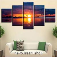 【お洒落な壁掛けアートパネル】 5点セット サンセット 風景画 海 太陽 日没 ファブリックパネル インテリア m04822