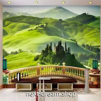 3D 壁紙 1ピース 1㎡ 自然風景 緑の山々の景色 インテリア 装飾 寝室 リビング 耐水 防カビ h02358