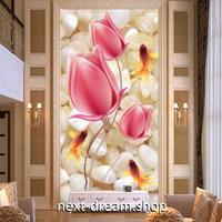 3D 壁紙 玄関用 1ピース 1㎡ ピンクチューリップ 金魚 インテリア 装飾 部屋 耐水 防湿 耐衝撃 騒音吸収 h02774