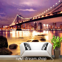 3D 壁紙 1ピース 1m2 シティの夜景 橋 防カビ 耐水 おしゃれ クロス インテリア 装飾 寝室 リビング h01796