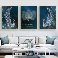 お洒落な壁掛けアートパネル3点セット (枠なし)/ 孔雀 ピーコック ダークブルー 50×70cm(各) ポスター 絵画 インテリア m03243