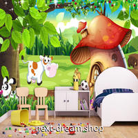 3D 壁紙 1ピース 1㎡ 子供部屋 ファンシー動物 キノコの家 インテリア 装飾 寝室 リビング 耐水 防湿 h02475