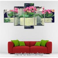 【お洒落な壁掛けアートパネル】 5点セット 自然景色 マーガレット 癒しピンクの花 花壇 絵画 ファブリックパネル インテリア m04121