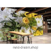 カスタム3D壁紙 1ピース 1㎡ 花束 写真 白 黄色 緑 キッチン 寝室 リビング クロス張替 リメイクシート m04521