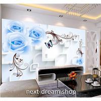 カスタム3D壁紙 1ピース 1㎡ 花柄 ブルーローズ キッチン 寝室 リビング クロス張替 リメイクシート m04482