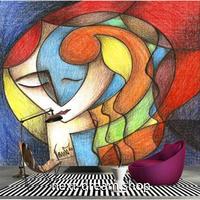 3D 壁紙 1ピース 1㎡ 北欧水彩画 アート 芸術家 カラフル 可愛い おしゃれ キッチン 寝室 客室 m03375