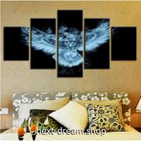 【お洒落な壁掛けアートパネル】 枠付き5点セット 暗闇のフクロウ 青い光 CG ファブリックパネル インテリア m04616