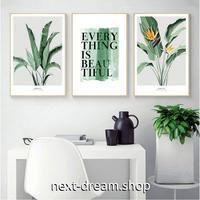 お洒落な壁掛けアートパネル3点セット (枠なし)/ 各30×40cm 植物 葉 英語 ロゴ BEAUTIFUL ポスター 絵画 インテリア m03252
