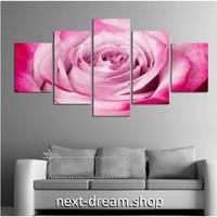 【お洒落な壁掛けアートパネル】 5点セット ピンク バラ 花 写真 ポスター 絵画 ファブリックパネル インテリア m04037