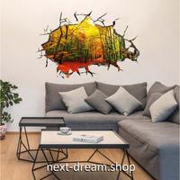 【ウォールステッカー】壁紙 DIY 部屋 シール 寝室 リビング インテリア 40×60cm 壁穴デザイン 森林 紅葉 m02315