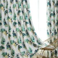 ☆ドレープカーテン☆ 植物 ホワイト&グリーン W100cmxH250cm 高さ調節可能 フックタイプ 2枚セット ホテル m05743