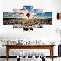 【お洒落な壁掛けアートパネル】 小さめサイズ5点セット 熱気球 空の景色 雲 ファブリックパネル DIY インテリア m04883