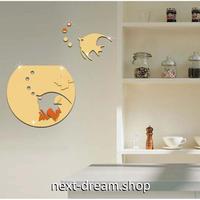 【ウォールステッカー】壁紙 DIY 部屋装飾 寝室 リビング 3D アクリル 28x25cm 熱帯魚 水槽 ゴールド シルバー  m02182