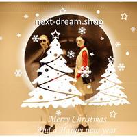 【ウォールステッカー】壁紙 DIY 部屋 装飾 寝室 リビング インテリア 50×70cm クリスマスツリー 白 ロゴ m02256