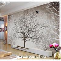 【カスタム3D壁紙】 1ピース 1m2 枯れ木 鳥 グレー調 キャンバス地 レストラン クロス張替 子供部屋 m05278