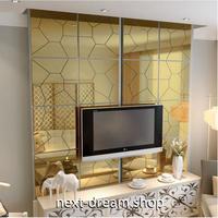 ☆インテリア3Dステッカー☆ 幾何学模様 20cm 2個セット ゴールド 壁用 アクリルシール デコ素材 DIY 店舗 m05623